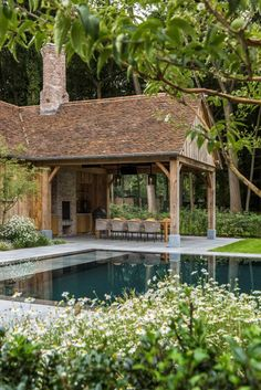This poolhouse is ready for some upcoming cosy summer nights. Swipe left for some swimmingpool details. Outdoor Rooms, Outdoor Living, Outside Living, Garage House, House Extensions, Pool Houses, Exterior Design, Future House, Pergola