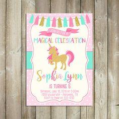 Unicornio cumpleaños invitación - mágica celebración - menta rosa oro - cumpleaños de las niñas - archivo DIGITAL