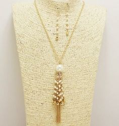 Gold and Cream Pearl Tassel Necklace Set