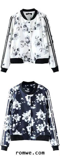 Floral Print Striped Sleeve Jacket
