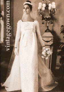 Early-mid 1960s wedding gown bride dress white veil column ...