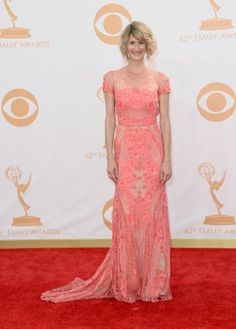 Naeem Khan Spring 2014: Days since runway show: 12 Naeem Kahn's melon-pink lace dress was a good choice for Laura Dern at this year's Emmys.