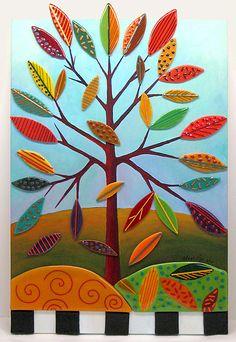 Pheasant Tree: Anne Nye: Art Glass Wall Art - Artful Home