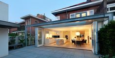 Openheid is mooi House Extension Design, Extension Designs, Open Plan Kitchen Dining, Open Plan Living, Porches, Backyard Door, Grand Luxe, Garden Villa, Garden King