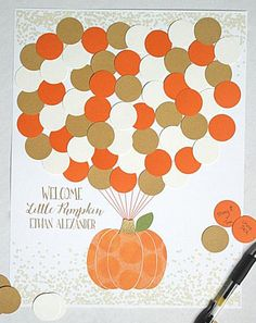This Little Pumpkin Boy Baby Shower Guest Book Alternative is the perfect addition to your fall baby shower party decor Let guests leave a lasting memento by signing a balloon to complete the adorable pumpkin print.  The text will be personalized to read Welcome Little Pumpkin __PERSONALIZATION__. The stalk of the pumpkin is made out of gold glitter card stock to add a touch of sparkle I can always customize colors or text The listing picture shows an 11x14 print with 55 balloons to help… Baby Shower Signs, Baby Shower Fall, Fall Baby, Baby Shower Parties, Baby Boy Shower, Shower Party, Diaper Shower, Shower Favors, Baby Shower Decorations For Boys