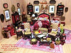 Desk Secretary Cabinet with Books Dressed 1:12 Dollhouse Miniature