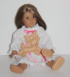 """American Girl Doll Nightgown, Reindeer Slippers and Softie Fit 18"""" dolls like American Girl"""