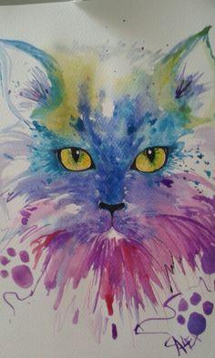 Miao by loretta - cats - Katzen Watercolor Cat, Watercolor Animals, Watercolor Paintings, Cat Drawing, Painting & Drawing, Animal Paintings, Animal Drawings, Tableau Pop Art, Cat Colors