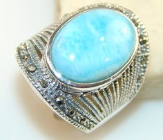 $92.15 Fantastic Quality Of Blue Larimar Sterling Silver Ring s. 8 at www.SilverRushStyle.com #ring #handmade #jewelry #silver #larimar