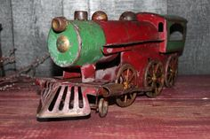 antique metal toy train
