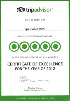 CERTIFICATE OF EXCELLENCE 2012 - SPA BAHÍA VITAL, Fuerteventura