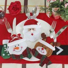 WS Christmas Design Tableware Knife and Fork Bag 3PCS - Flocking Fabric Kids