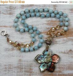 ON SALE Boho knotted necklace amazonite gemstone artisan