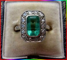 NATURAL DIAMOND EMERALD RING VICTORIAN STYLE ART DECO WEDDING | eBay