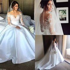 Long Sleeves Detachable Bridal Gown Satin Train Wedding Dress Custom 8 10 12 14+