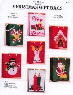 christmasgiftbags Plastic Canvas Christmas, Christmas Gift Bags, Christmas Crafts, Christmas Patterns, Mary Christmas, Christmas Goodies, Christmas Stocking, Plastic Canvas Tissue Boxes, Plastic Canvas Crafts