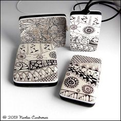 Zentangle - Inspiration Page Polymer Clay Pendant, Polymer Clay Art, Polymer Clay Jewelry, Polymer Clay Projects, Polymer Clay Creations, Clay Crafts, Biscuit, Zentangle Patterns, Zentangles