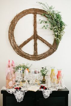 Bohemian Peace Sign Wreath