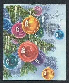 '50s Pink, Blue, Gold Ornaments, Icicles on Tree Vtg Christmas Card