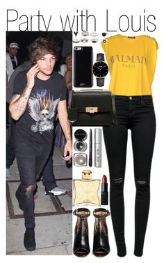 """""""Party with Louis"""" by praradise ❤ liked on Polyvore featuring Balmain, J Brand, Givenchy, Gooey, Balenciaga, Bobbi Brown Cosmetics, Hermès and NARS Cosmetics"""