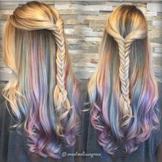 UNDERLIGHTS is the new HOT hair trend! underlights hair Underlights and Hidden Rainbows! Underlights Hair, Hair Addiction, Long Wavy Hair, Long Curly, Thick Hair, Unicorn Hair, Blonde Color, Ombre Colour, Mermaid Hair