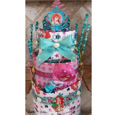 Little Mermaid - Pink & Teal Princess Ariel Diaper Cake for Baby Shower Gift or Centerpiece by 209 Diaper Cakes & Gifts - facebook.com/209diapercakes