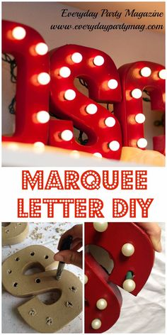 DIY Wall Letters and Initals Wall Art - Red Marquee Letters DIY - Cool Architectural Letter Projects for Living Room Decor, Bedroom Ideas. Girl or Boy Nursery. Paint, Glitter, String Art, Easy Cardboard and Rustic Wooden Ideas http://diyprojectsforteens.com/diy-projects-with-letters-wall