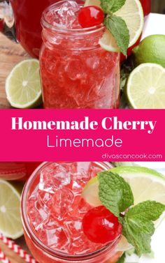 Homemade Cherry Limeade- Better Than Sonic Refreshing Drinks, Summer Drinks, Fun Drinks, Healthy Drinks, Beverages, Healthy Juices, Cold Drinks, Cherry Limeade Recipe, Punch Recipes