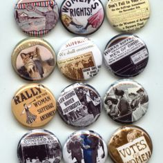 Womens Suffrage Suffragette Feminism Equal rights pinback button set by Yesware11 on Etsy!