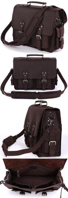 Vintage Handmade Crazy Horse Leather Briefcase / Travel Bag / Messenger Bag