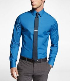 BORDEAUX BLUE 1MX EXTRA SLIM FIT FRENCH CUFF SHIRT at Express