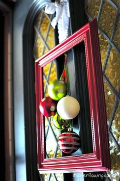"""Cute frame with ornaments. Easy """"wreath""""."""