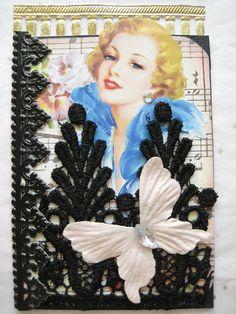 "** ""Black Lace"" ATC Artist Trading Card @donettafarrington"