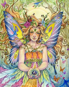 Mother Earth (Danielle) Art Print Earth Day fantasy fairy art in watercolor and colored pencil Unicorn And Fairies, Unicorns And Mermaids, Cross Stitch Books, Cross Stitch Art, Fairy Land, Magical Creatures, Thing 1, Faeries, Fantasy Art