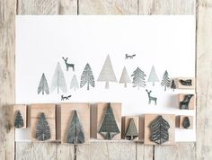 Christmas Rubber Stamps, Fir Tree Stamps