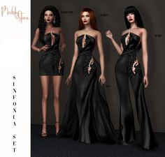 Sinfonia Set by MablyStore Sims 4 Dresses, Gala Dresses, Evening Dresses, Sims 4 Mods Clothes, Sims 4 Clothing, Sims Four, Sims 3, Sims Packs, Elegant Dresses