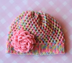 #Crochet a cute beanie in fun colorful yarn.