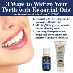 Whitening Options Young Living Essential Oils: Wintergreen to Whiten Teeth - Just ordered wintergreen last night! For more info and to purchase go to www.Essential Whitening Whitening may refer to: Whitener may also refer to: Yl Essential Oils, Young Living Essential Oils, Essential Oil Blends, Yl Oils, Doterra Oils, Coconut Oil For Teeth, Coconut Oil Pulling, Natural Teeth Whitening, Essential Oils Teeth Whitening