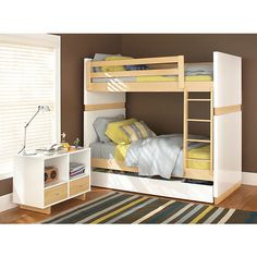 Looking for a kids bed? Add solid kids furniture to your kids bedroom furniture set with our Wood trundle bed. Bunk Beds Small Room, Wood Bunk Beds, Modern Bunk Beds, Bunk Beds With Stairs, Twin Bunk Beds, Kids Bunk Beds, Loft Beds, Small Rooms, Modern Bedding