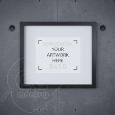 8x10 frame mockup, Matted black frame, Digital product mock up, Concrete background, Printable download, Styled mockup, Instant download