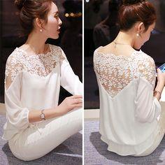 Barato Plus Size XXL mulheres Chiffon blusa 2015 verão preto de manga três quartos camisa feminina blusa renda, Compro Qualidade Blusas diretamente de fornecedores da China: