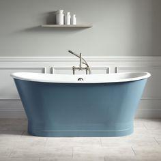 "67"" Kateryn Bateau Skirted Tub - Slate Blue"