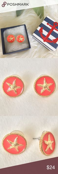 """Bella * Jack Coral & Gold Starfish Studs Gold & coral studs with an adorable starfish emblem. Perfect for the upcoming spring & summer season! Measure ~ 5/8"""" across & height. Gently worn, excellent condition! Comes with original box. Bella Jack Jewelry Earrings"""