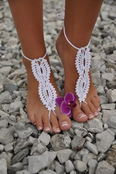 Beach wedding White Crochet wedding Barefoot Sandals, Nude shoes, Foot jewelry, Bridal, Victorian Lace, Sexy, Yoga, Anklet. $15.00, via Etsy.