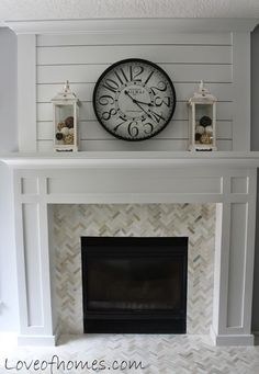 fireplace plank tile before after, diy, fireplaces mantels, living room ideas, woodworking projects remodel before and after Fireplace Makeover Before and After Fireplace Redo, Home Fireplace, Cheap Home Decor, Diy Fireplace, Fireplace Design, House, Fireplace Remodel, Fireplace Makeover, Home Decor