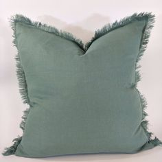 Hazelhurst 100% Pure French Linen Fringed Edge Cushion Square Feather – Macey & Moore Lack Of Common Sense, Couch Cushions, Linen Sheets, Minimal Classic, Luxury Bedding, 100 Pure, Feather, Sage, Pure Products