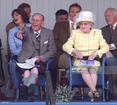 The Queen And The Duke Of Edinburgh, Prime Minister Tony Blair & Wife Cherie Attend The 2003 Highland Games In Braemar, Scotland. .