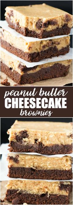Peanut Butter Cheesecake Brownies - A rich fudgy brownie layer is topped by a smooth peanut butter cheesecake filling. This dessert tastes out of this world! Mini Desserts, Easy Desserts, Delicious Desserts, Dessert Recipes, Health Desserts, Health Foods, Cheesecake Toppings, Cheesecake Brownies, Cheesecake Recipes
