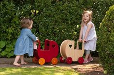 Moover Wooden Dolls Pram from HABA provides stability for toddlers who are learning to walk and encourages nurturing role-play for kids. Rubber wheels provide this carriage with a smooth ride!