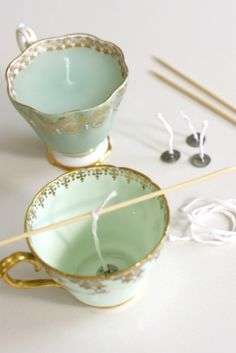 candles from teacups! So easy to do with candle wicks and melted wax bought from any craft store and you don't have to worry about un-molding your candle